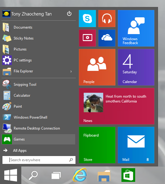 Screenshot of the New Start Menu