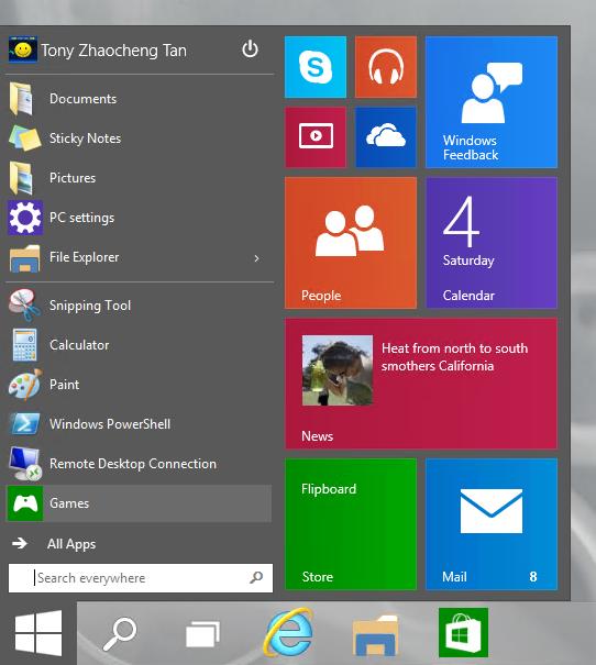 Screenshot of the New Start Menu
