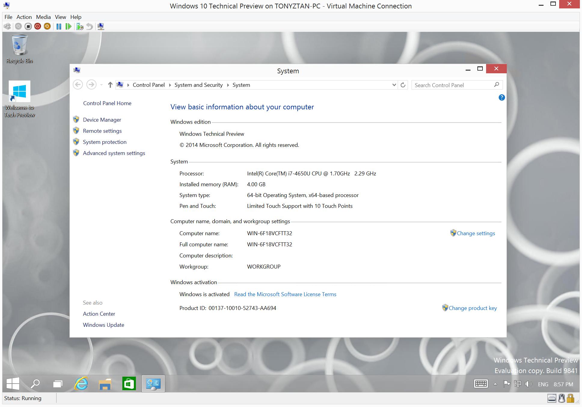 Screenshot of Windows 10 in Hyper-V